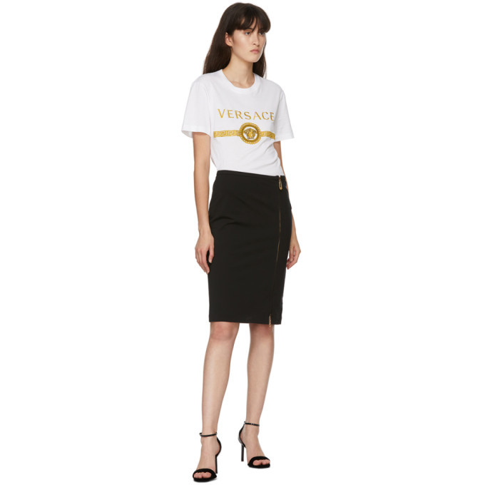 Versace Black Zip Mid-Length Skirt