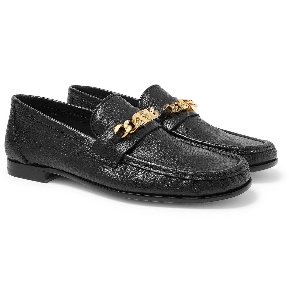 Photo: Versace - Antares Chain-Trimmed Textured-Leather Loafers - Black