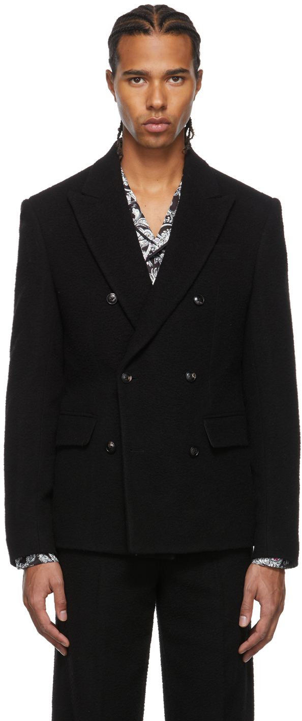 Photo: AMIRI Black Boiled Wool Double-Breasted Blazer
