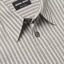 GIORGIO ARMANI - Slim-Fit Striped Cotton and Silk-Blend Shirt - Gray - 38