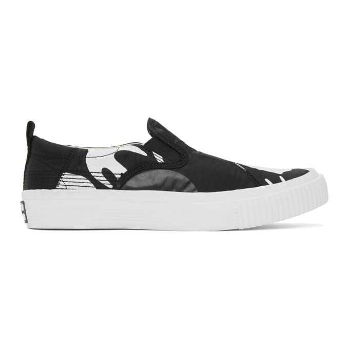 Photo: McQ Alexander McQueen Black and White Swallow Orbyt Slip-On Sneakers