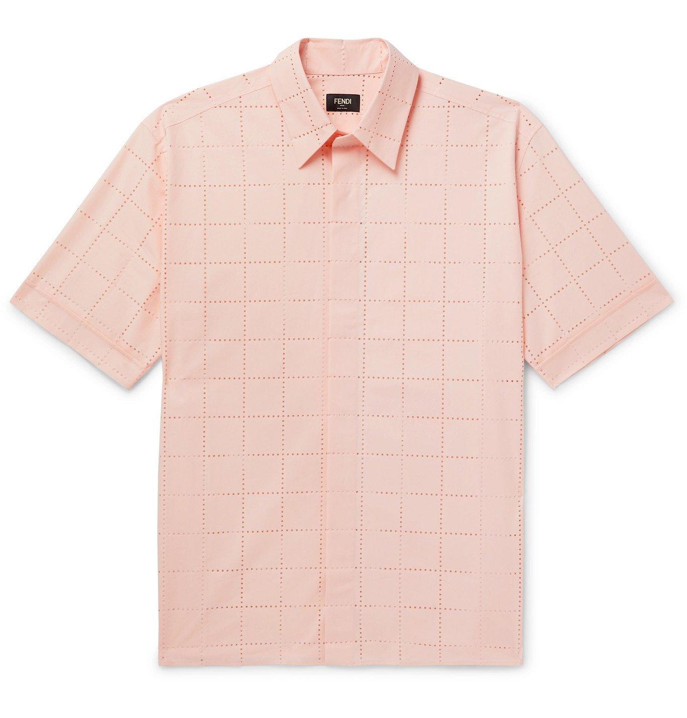Photo: Fendi - Perforated Cotton Shirt - Pink