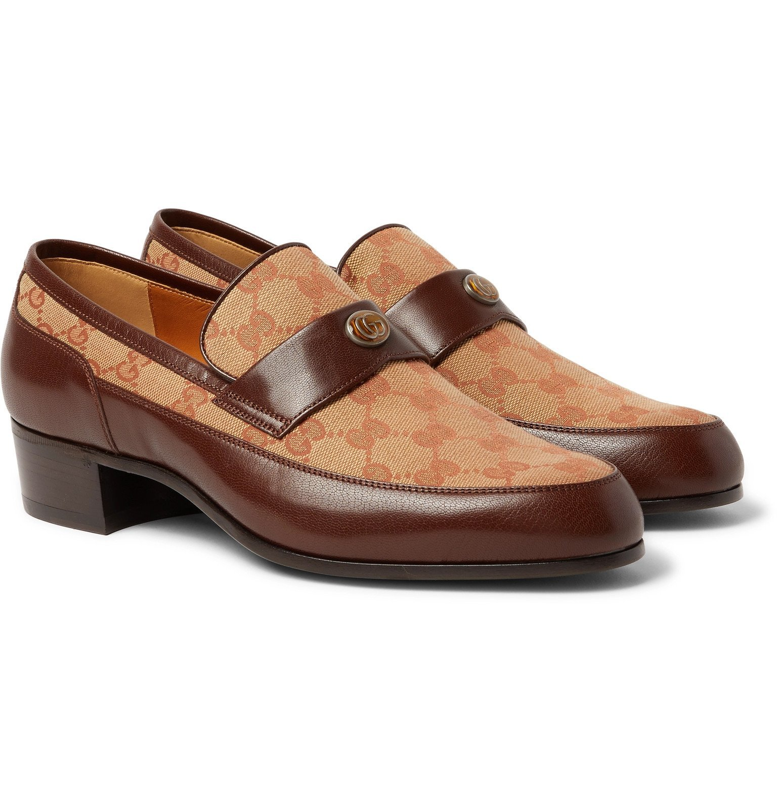 Photo: Gucci - Printed Monogrammed Coated-Canvas and Leather Loafers - Brown