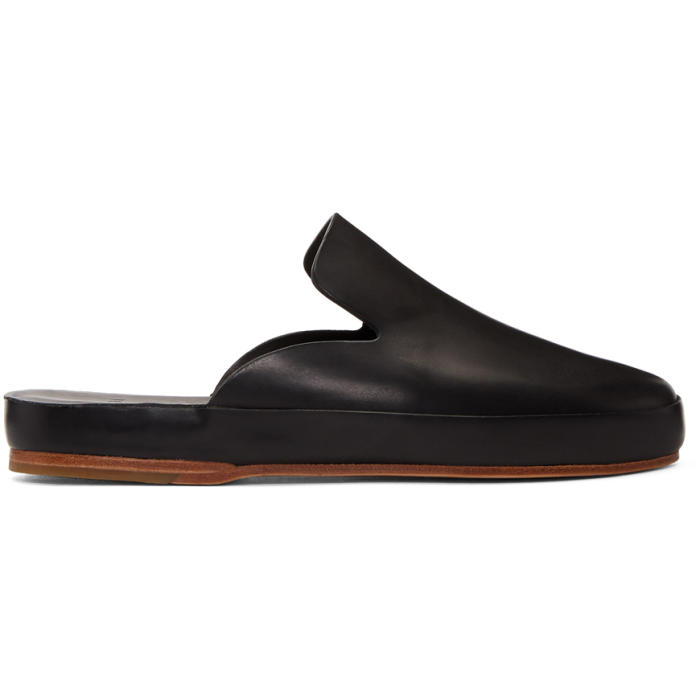 Photo: Feit Black Hand Sewn Slide Loafers