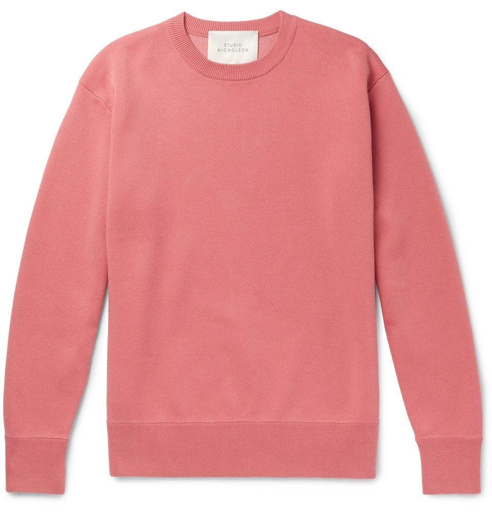 Photo: Studio Nicholson - Hicks Loopback Cotton and Wool-Blend Jersey Sweatshirt - Pink
