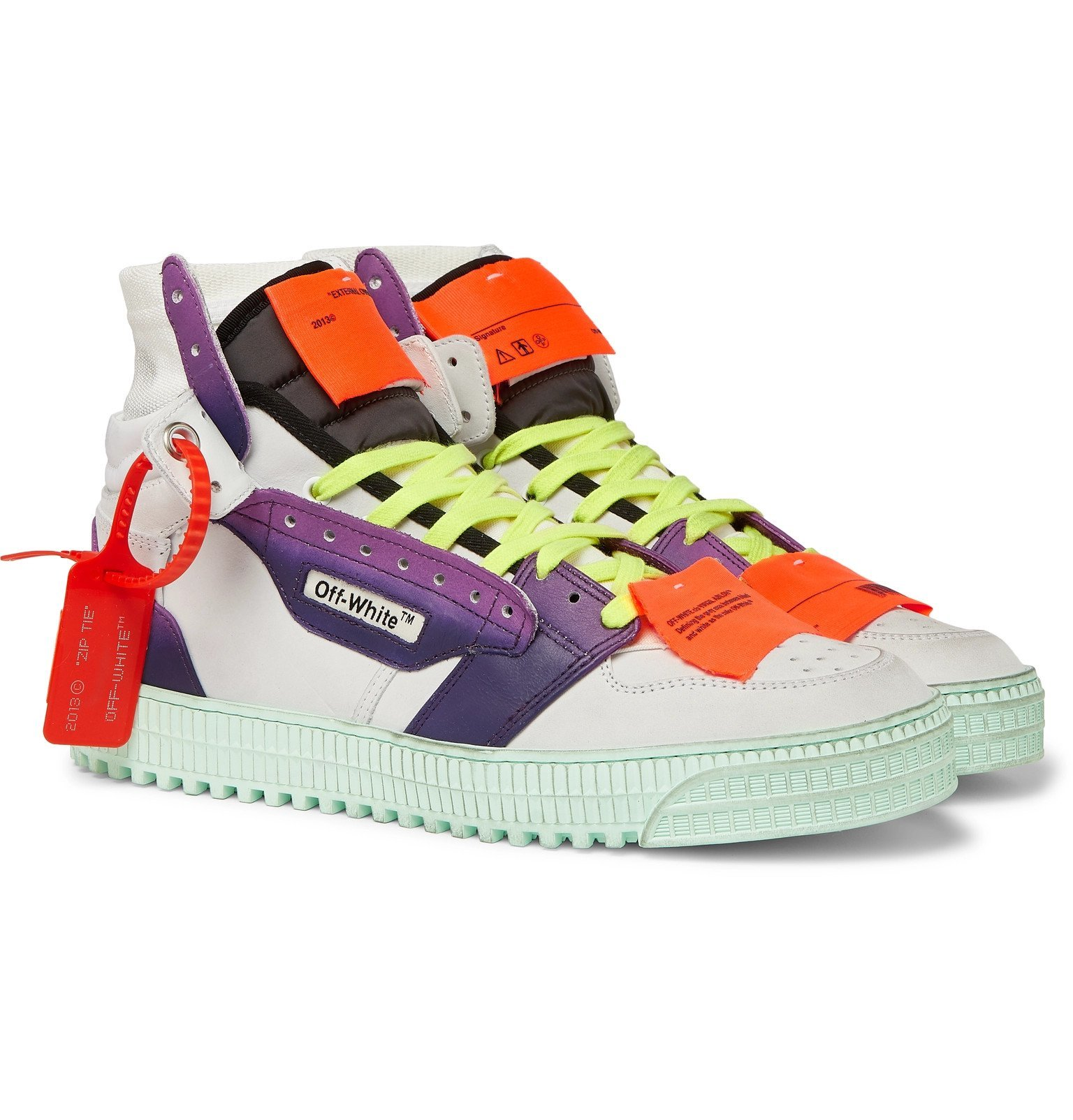 Photo: Off-White - Off-Court Nubuck, Leather and Canvas Sneakers - White