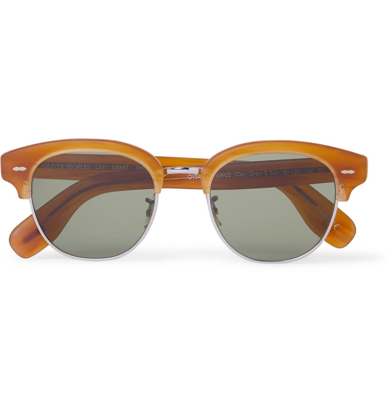 Photo: OLIVER PEOPLES - Cary Grant 2 Sun Round-Frame Acetate and Gold-Tone Sunglasses - Brown