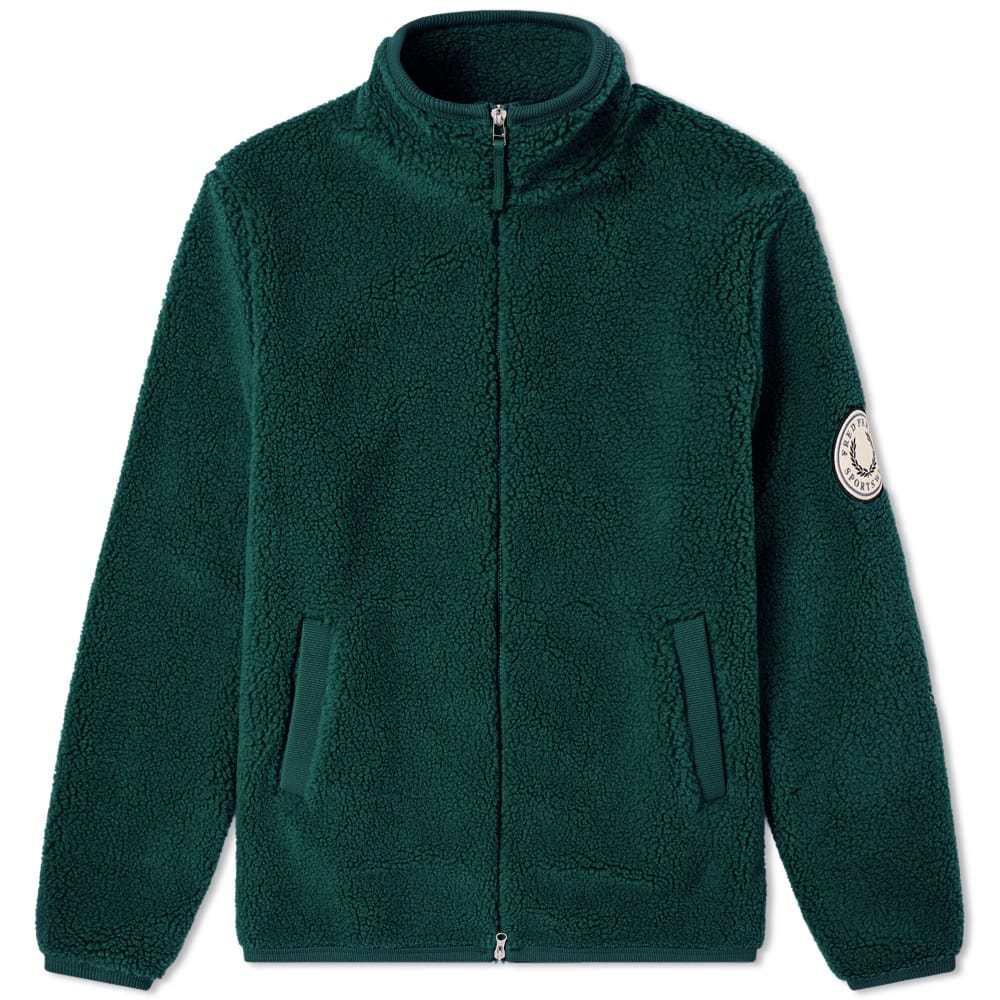 Photo: Fred Perry Borg Zip Through Fleece Jacket Tartan Green