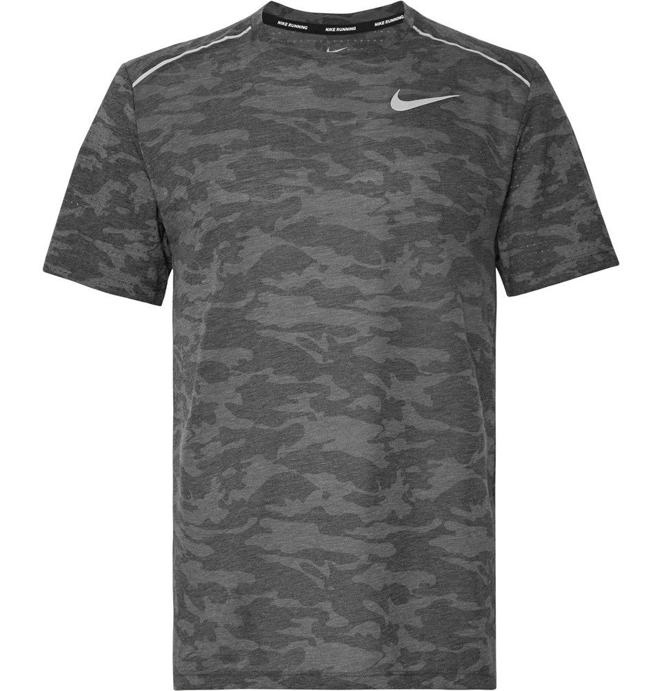 Nike Running - Rise 365 Perforated Camouflage-Print Breathe Dri-FIT T-Shirt - Gray