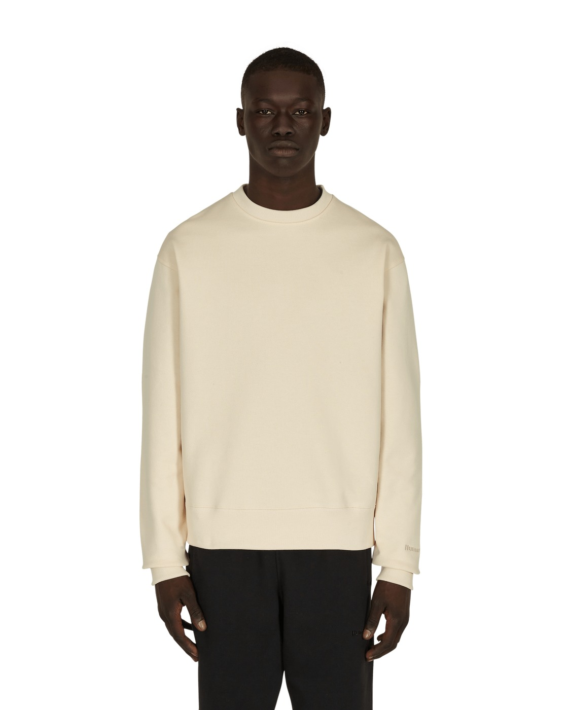 Photo: Adidas Originals Pharrell Williams Basics Crewneck Sweatshirt Ecru Tint