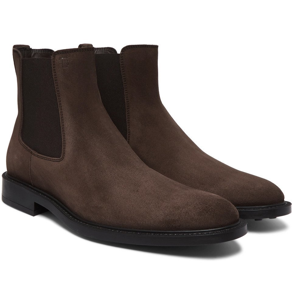 Photo: Tod's - Suede Chelsea Boots - Dark brown