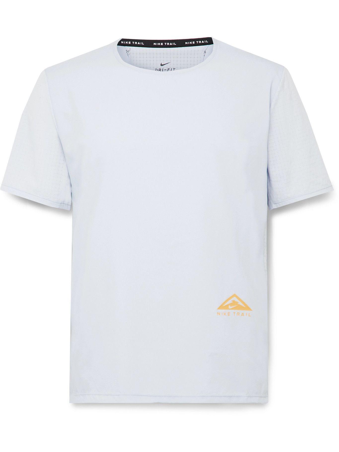 Photo: Nike Running - Rise 365 Logo-Print Dri-FIT Ripstop T-Shirt - Gray
