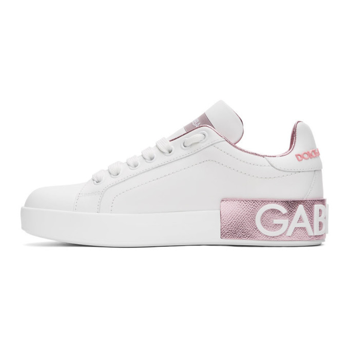 Dolce and Gabbana White and Pink Portofino Sneakers
