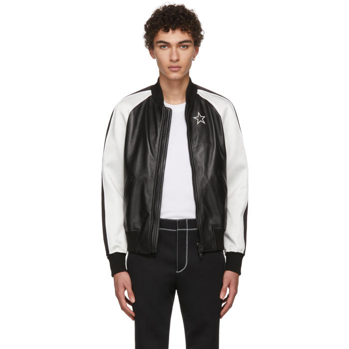 Photo: Givenchy Black and White Leather Bomber Jacket