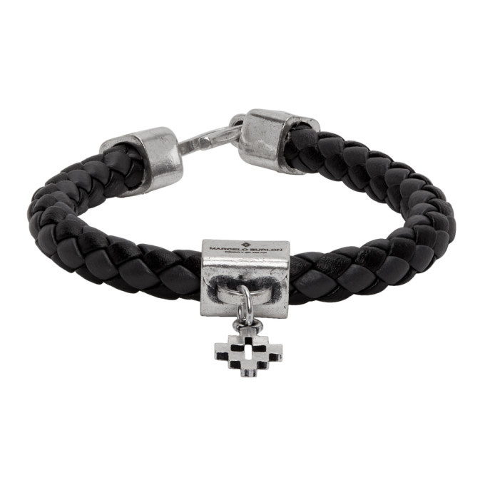 Photo: Marcelo Burlon County of Milan Black and Grey Braided Leather Cross Bracelet
