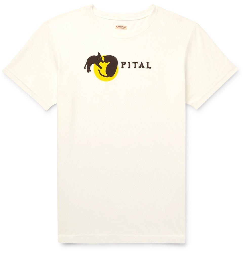 Photo: KAPITAL - Logo-Print Cotton-Jersey T-Shirt - White