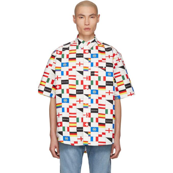Photo: Balenciaga White and Multicolor Check LGBTQ Pocket Shirt