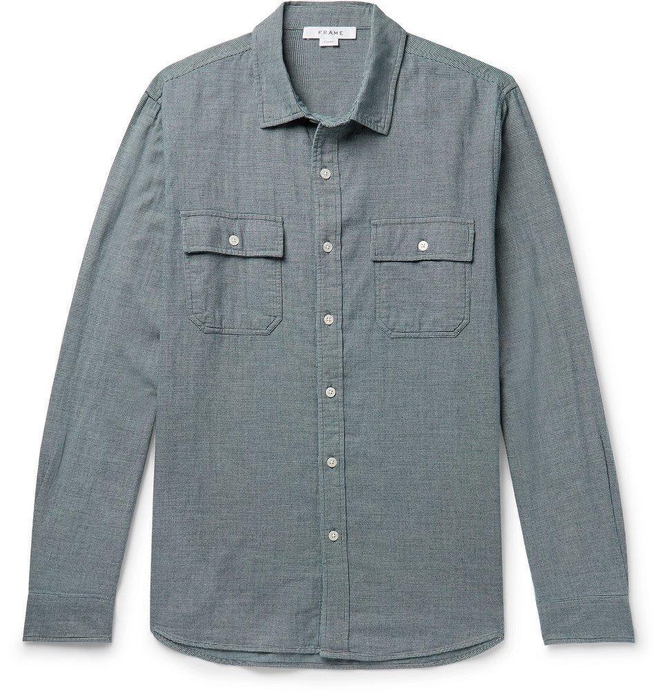 Photo: FRAME - Indigo-Dyed Puppytooth Cotton Shirt - Navy