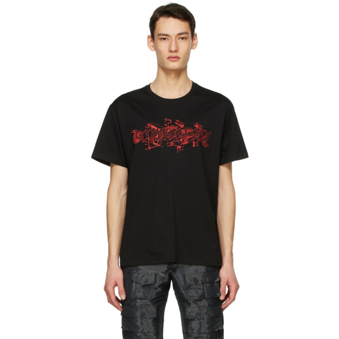 Photo: Givenchy Black and Red Schematics Logo T-Shirt
