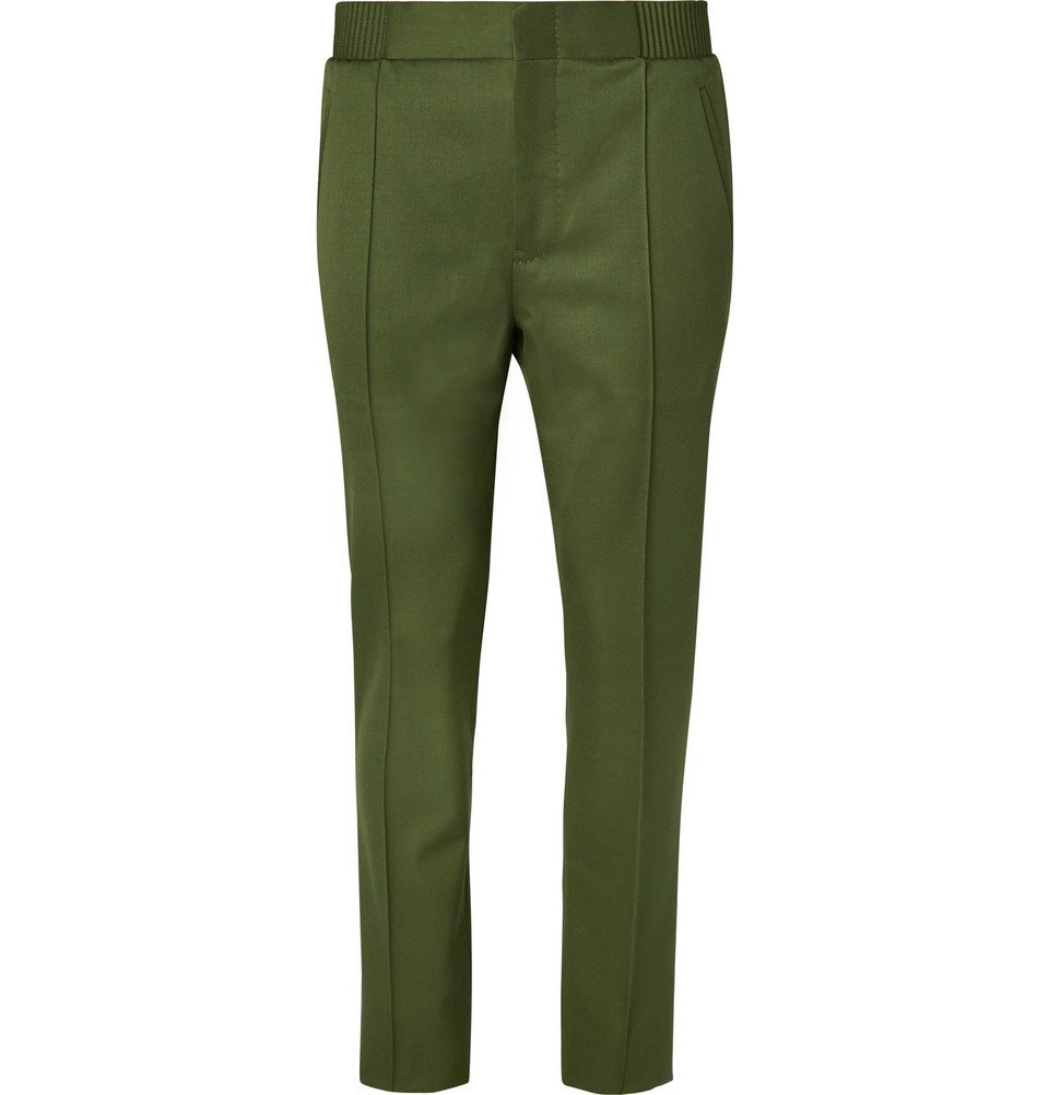 Photo: Berluti - Slim-Fit Tapered Wool-Gabardine Trousers - Men - Green