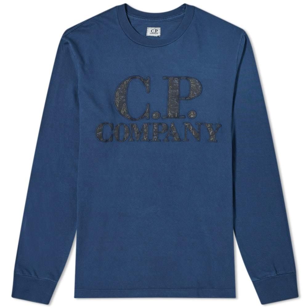 C.P. Company Long Sleeve P.Ri.S.M Garment Dyed Intarsia Logo Tee