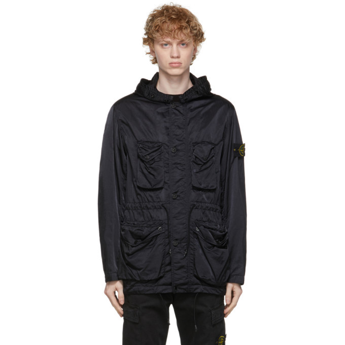 Stone Island Black Nylon Raso-TC Coat