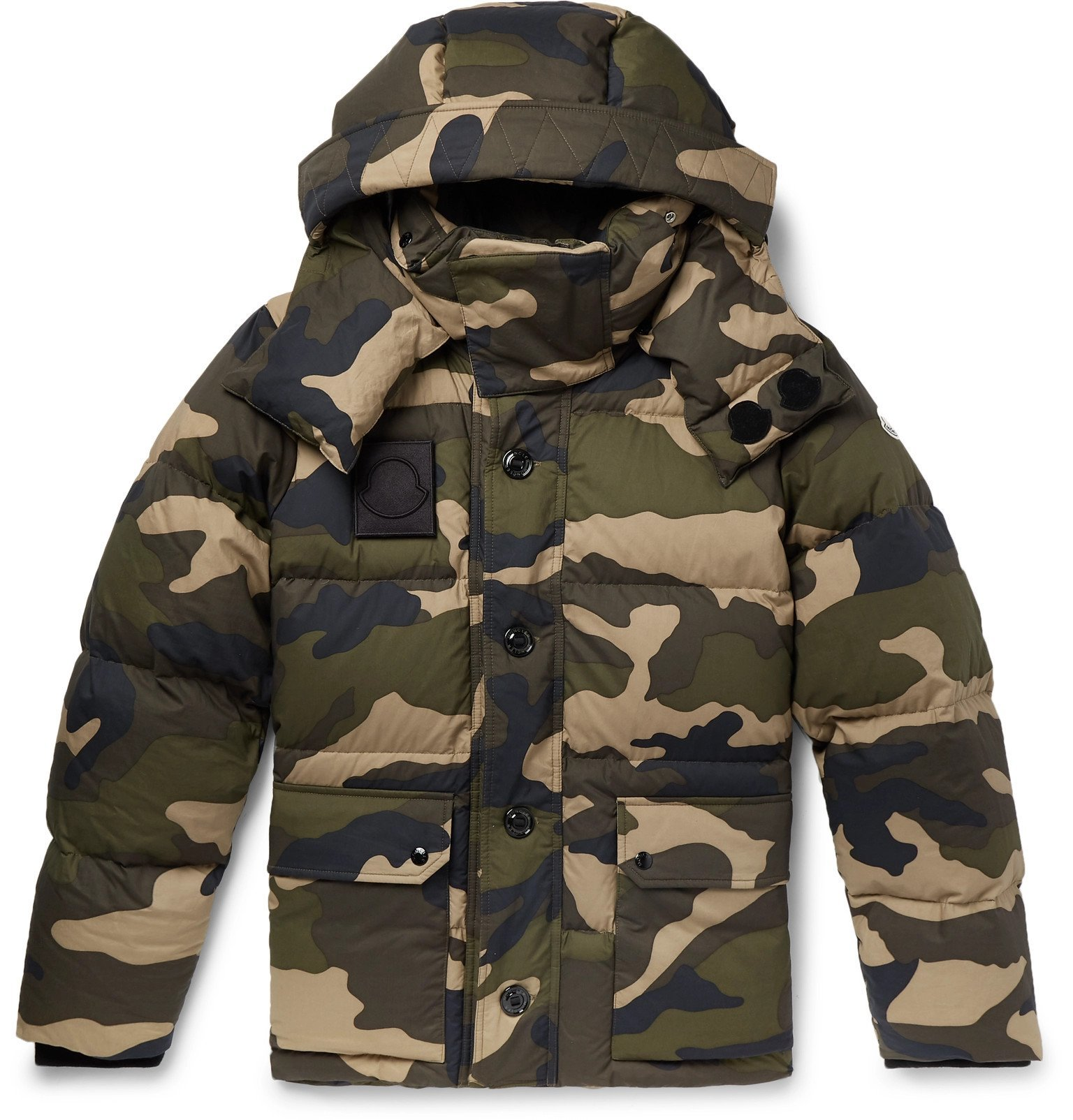 Photo: Moncler - Dary Slim-Fit Camouflage-Print Quilted Cotton-Shell Hooded Down Jacket - Green