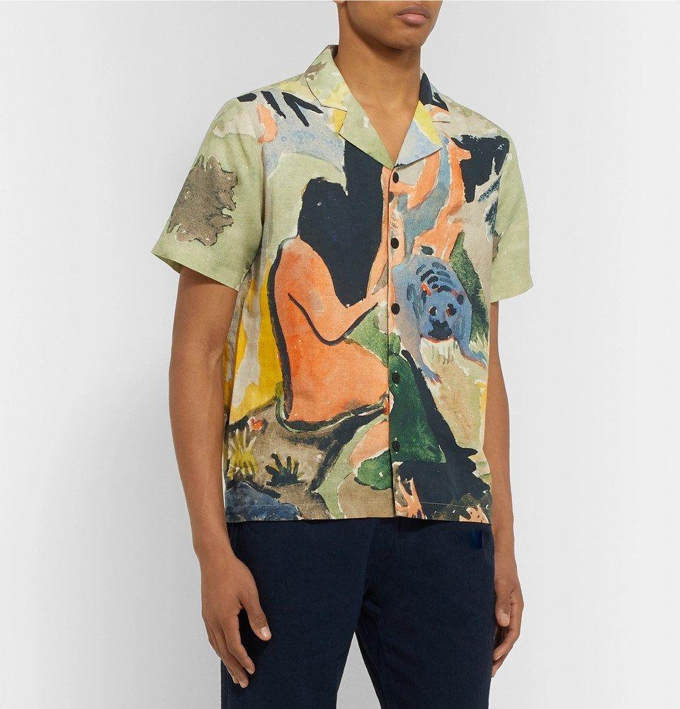 Folk - Goss Brothers Camp-Collar Printed Linen and Cotton-Blend Shirt - Multi