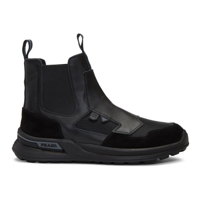 Photo: Prada Black Leather High-Top Sneakers