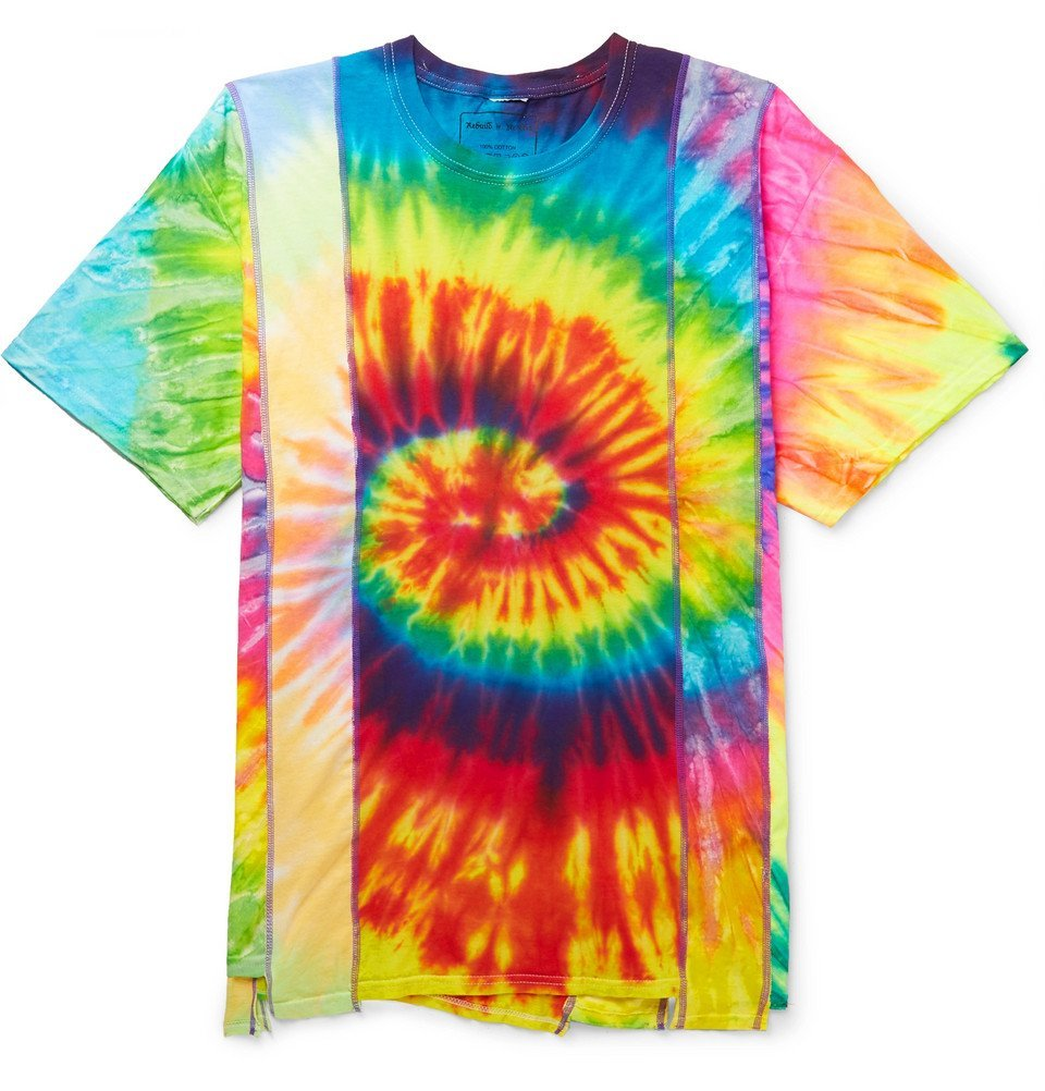 Photo: Needles - Panelled Tie-Dyed Cotton-Jersey T-Shirt - Multi