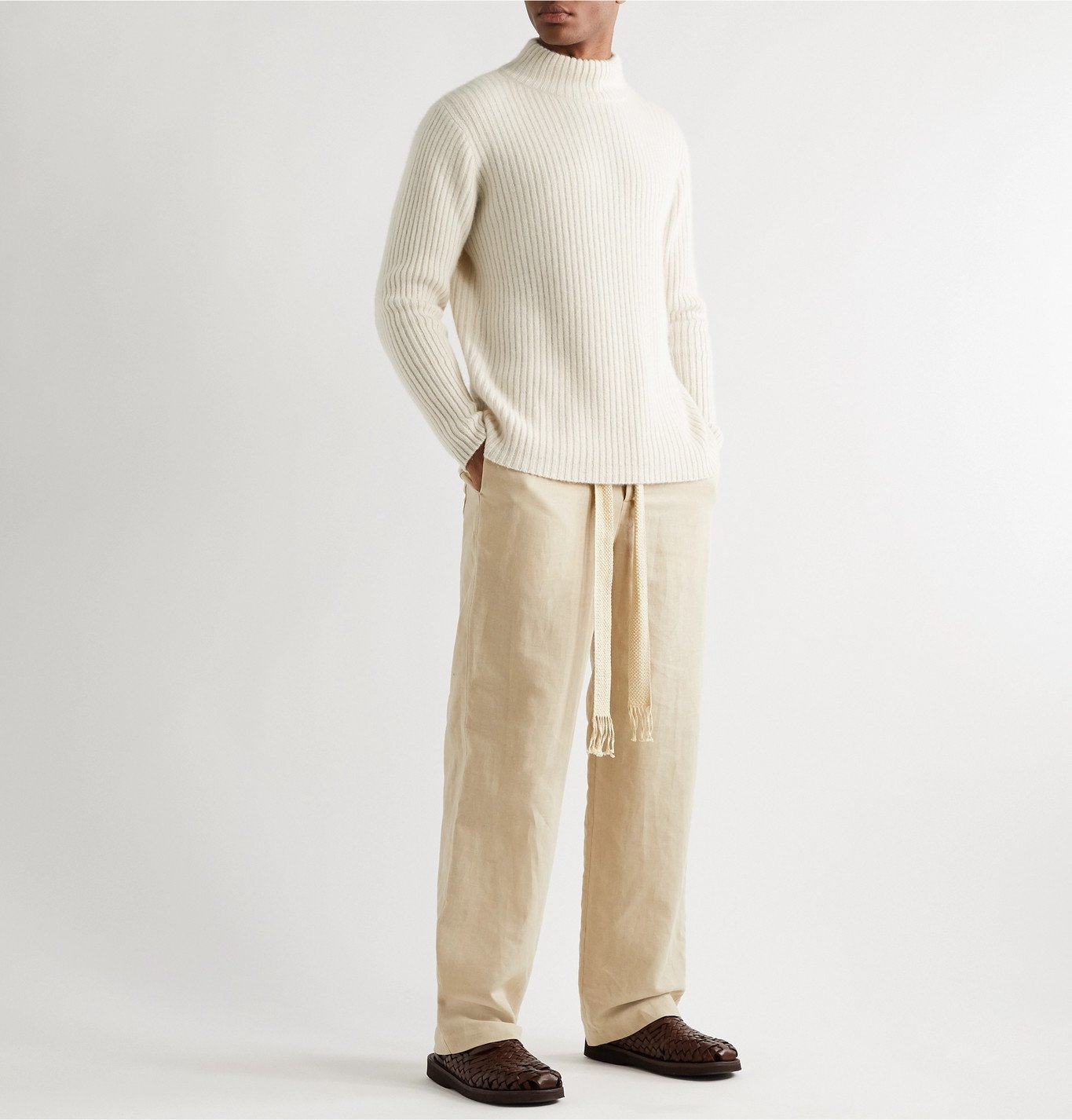 The Elder Statesman - Ribbed Cashmere Mock-Neck Sweater - Neutrals