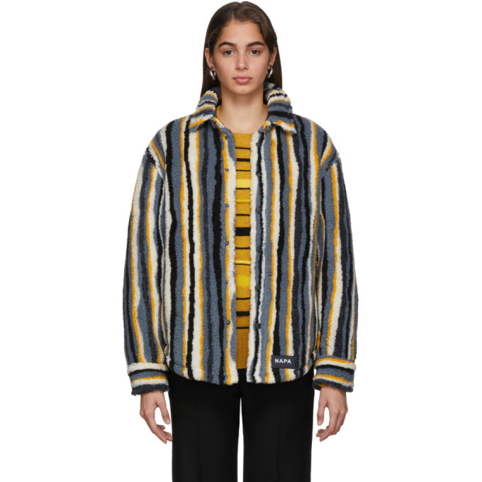 NAPA by Martine Rose Blue Striped Fleece Button-Up Jacket