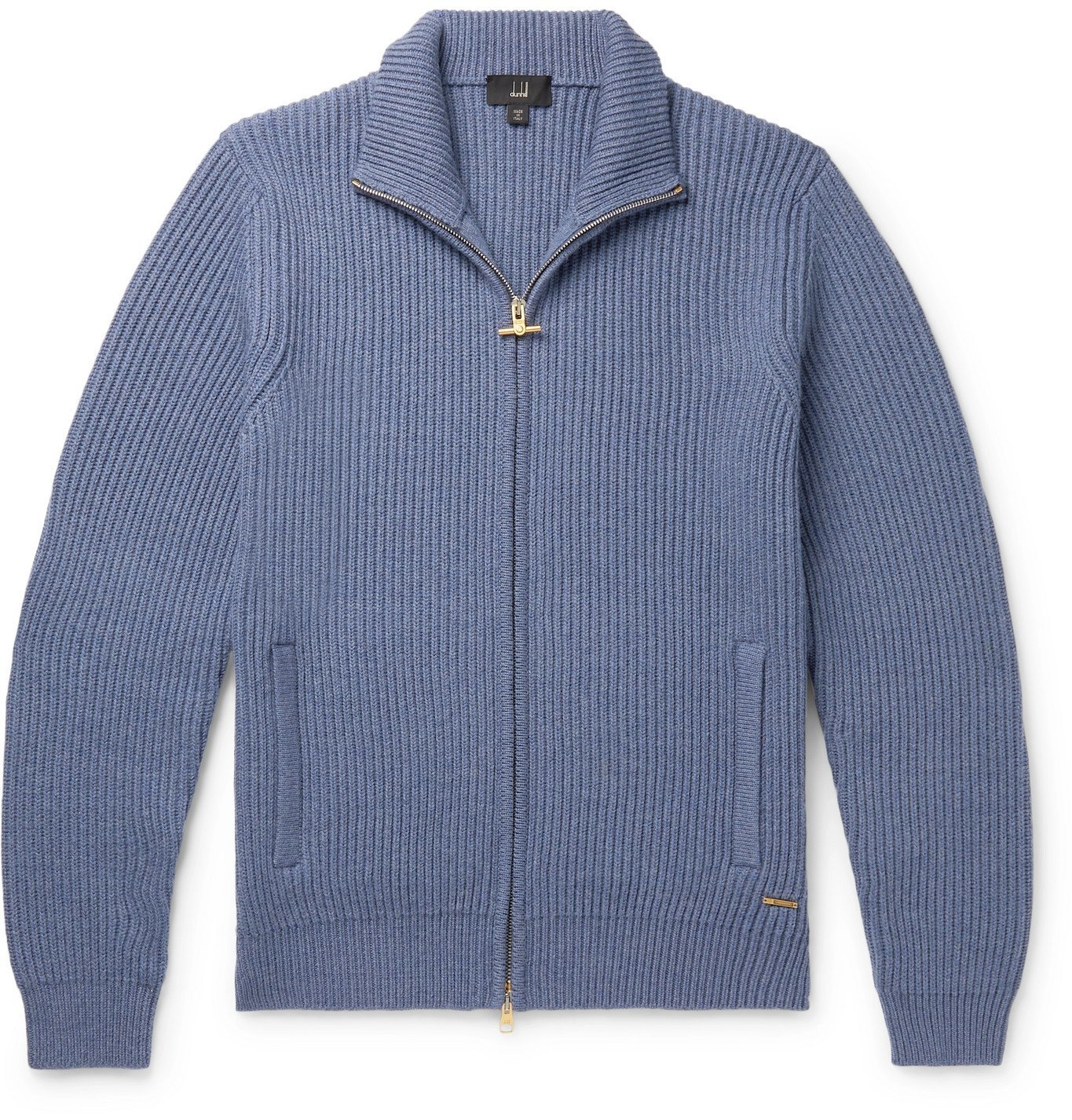 DUNHILL - Leather-Trimmed Ribbed Wool Zip-Up Cardigan - Blue