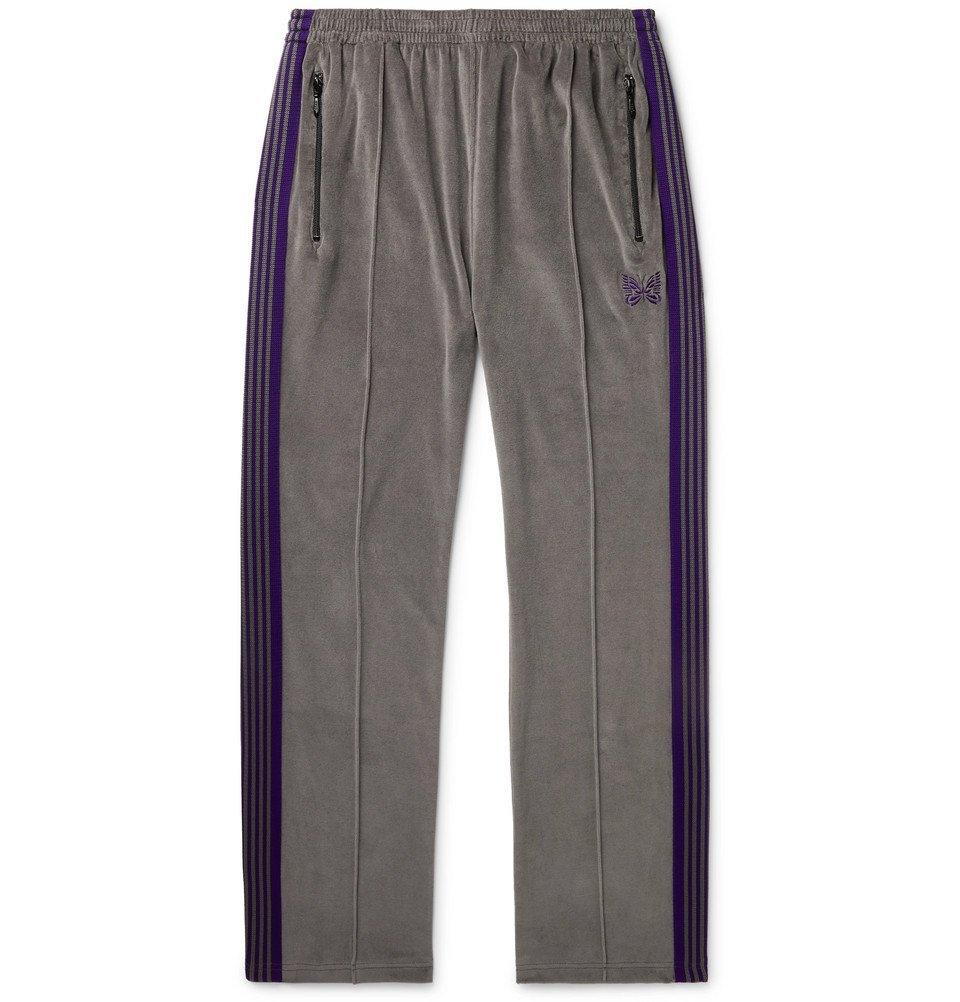 Photo: Needles - Striped Cotton-Blend Velour Sweatpants - Gray