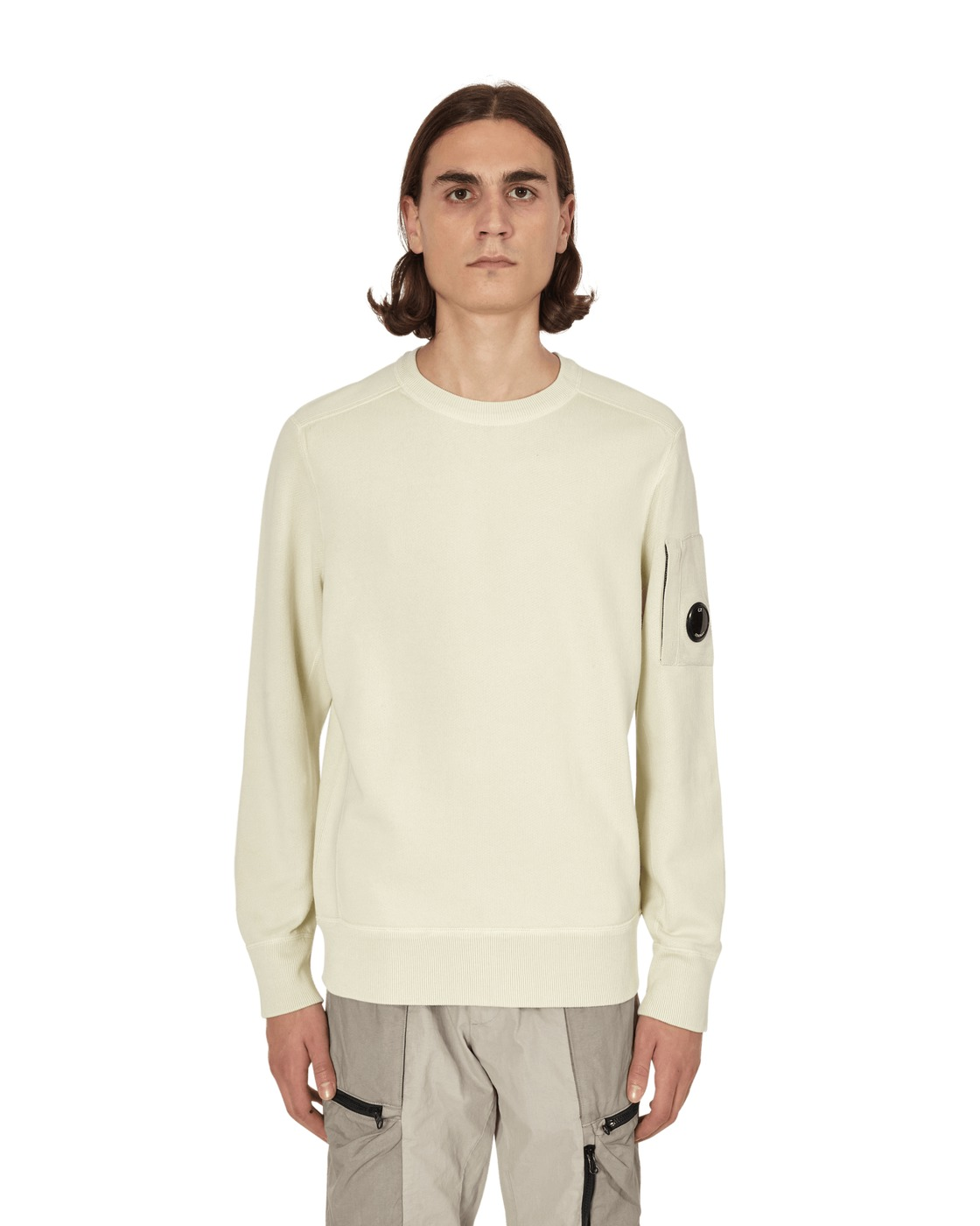 Photo: C.P. Company Garment Dyed Fleece Lens Crewneck Sweatshirt Oyster Grey