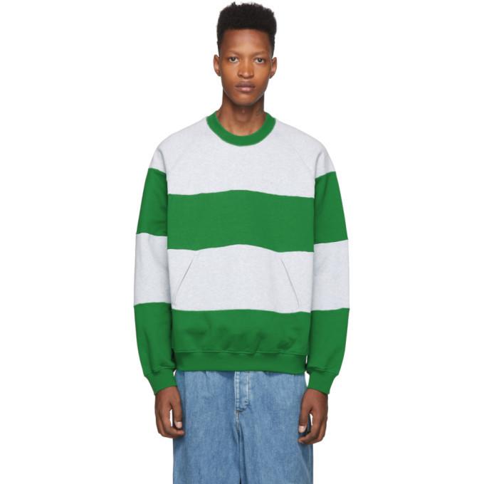 Photo: Sunnei Grey and Green Striped Band Sweatshirt
