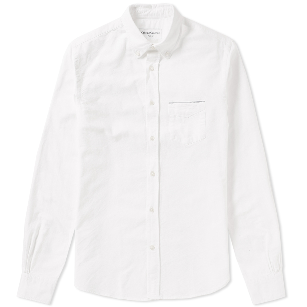 Photo: Officine Generale Button Down Japanese Selvedge Oxford Shirt White