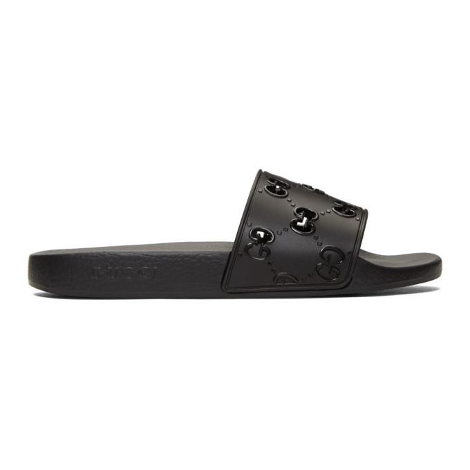 Photo: Gucci Black GG Slides