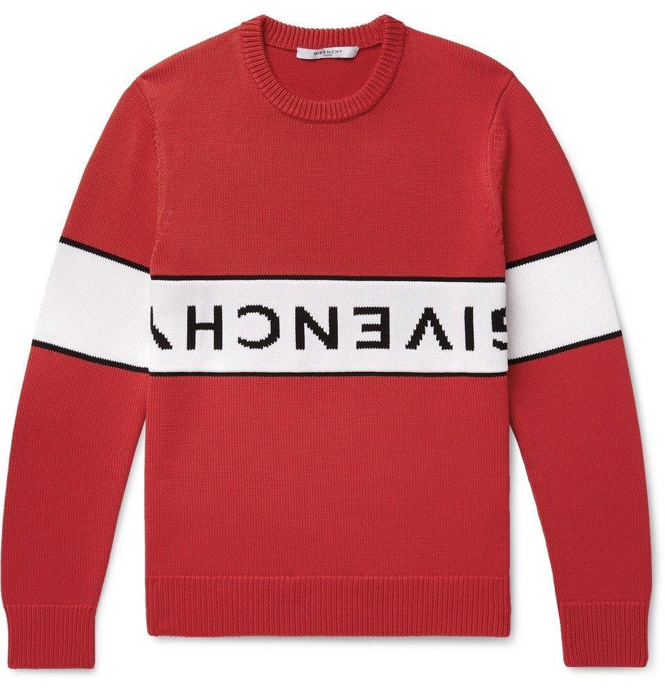 Photo: Givenchy - Logo-Intarsia Cotton Sweater - Red