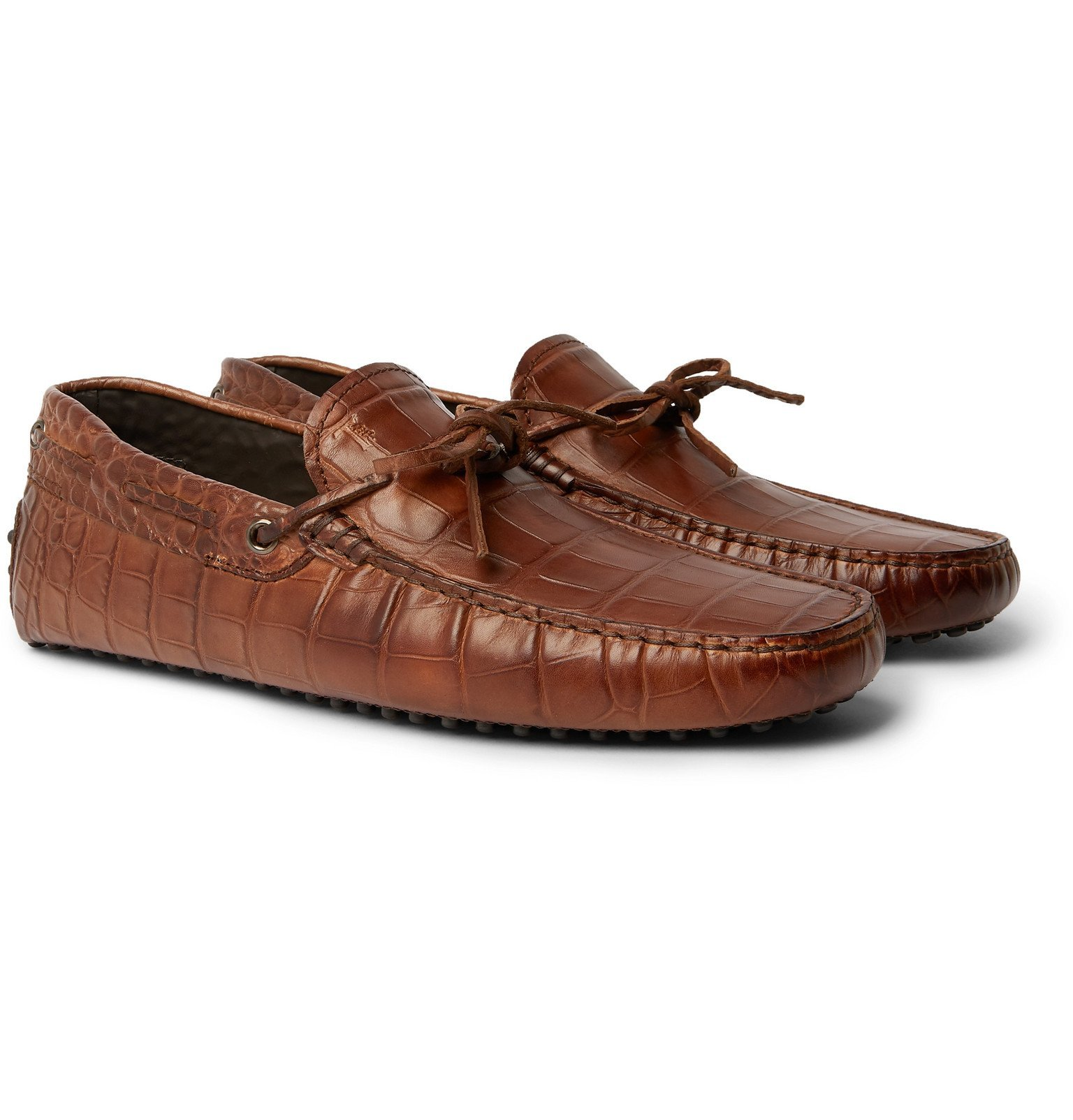 Tod's - Gommino Croc-Effect Leather Driving Shoes - Brown