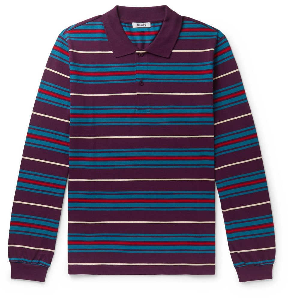 Photo: Très Bien - Striped Cotton-Piqué Polo Shirt - Multi