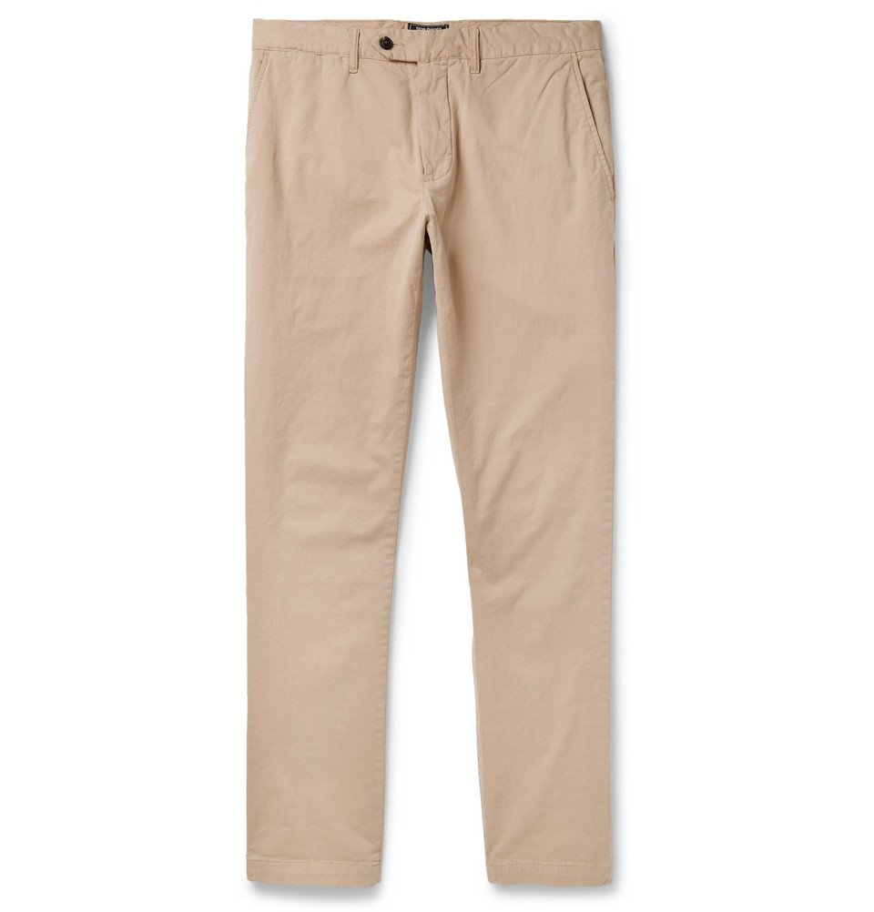 Photo: Todd Snyder - Class Slim-Fit Stretch-Cotton Twill Chinos - Neutral