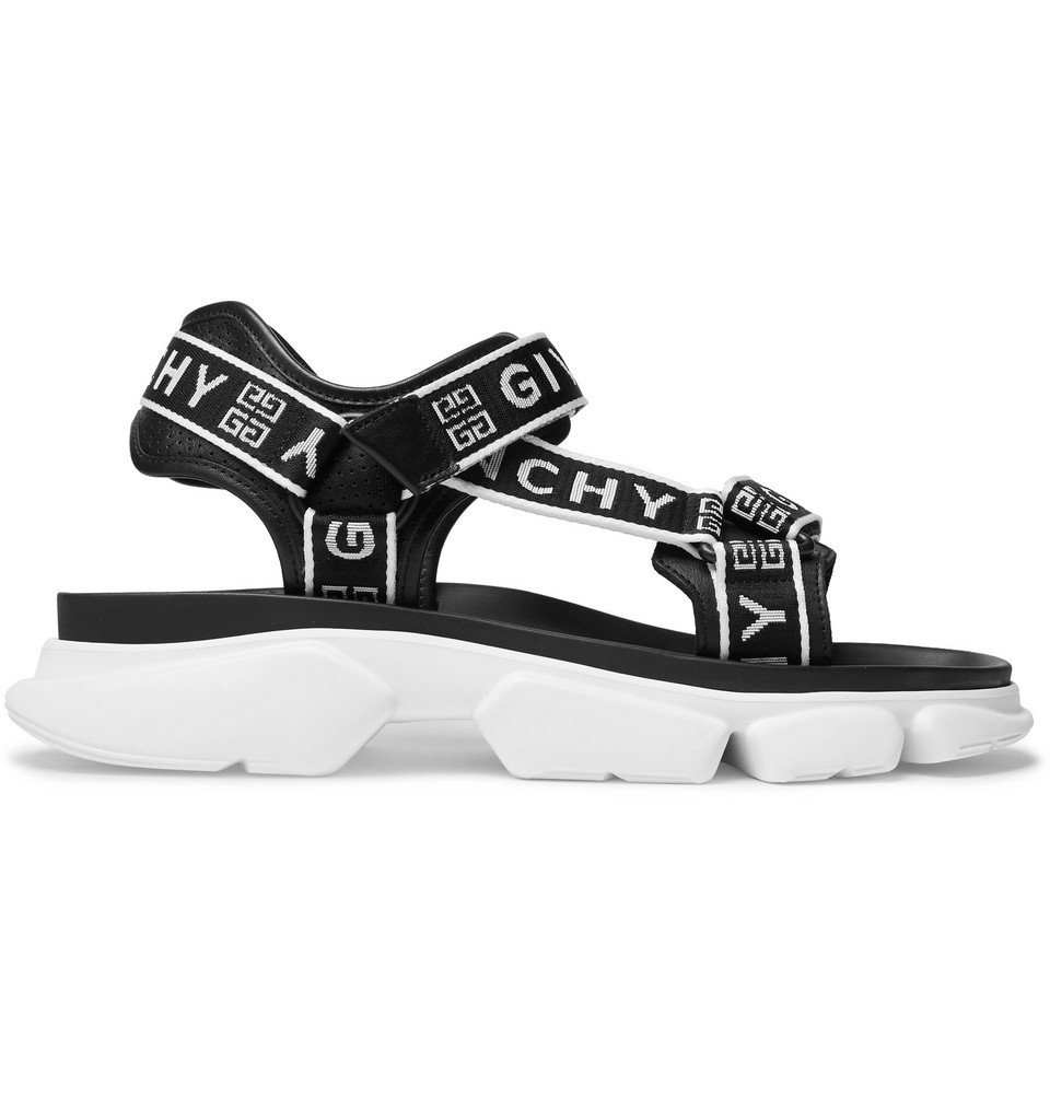 Photo: Givenchy - Jaw Logo-Jacquard Webbing and Faux Leather Sandals - Black