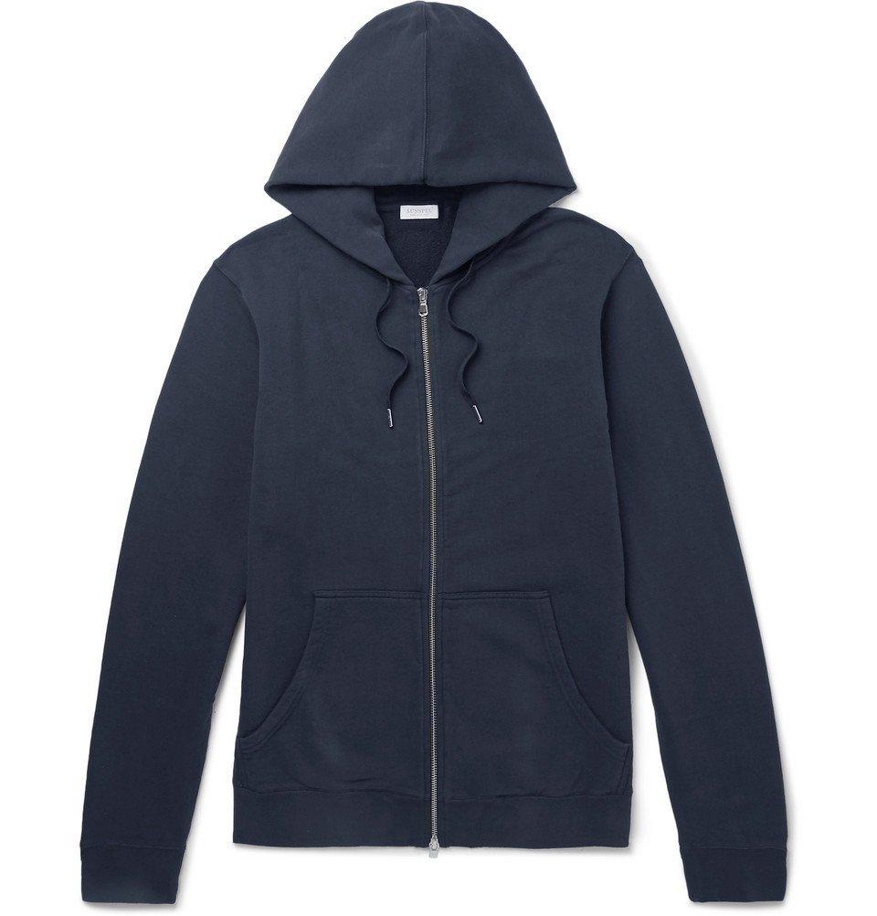 Sunspel - Loopback Cotton-Jersey Zip-Up Hoodie - Men - Navy