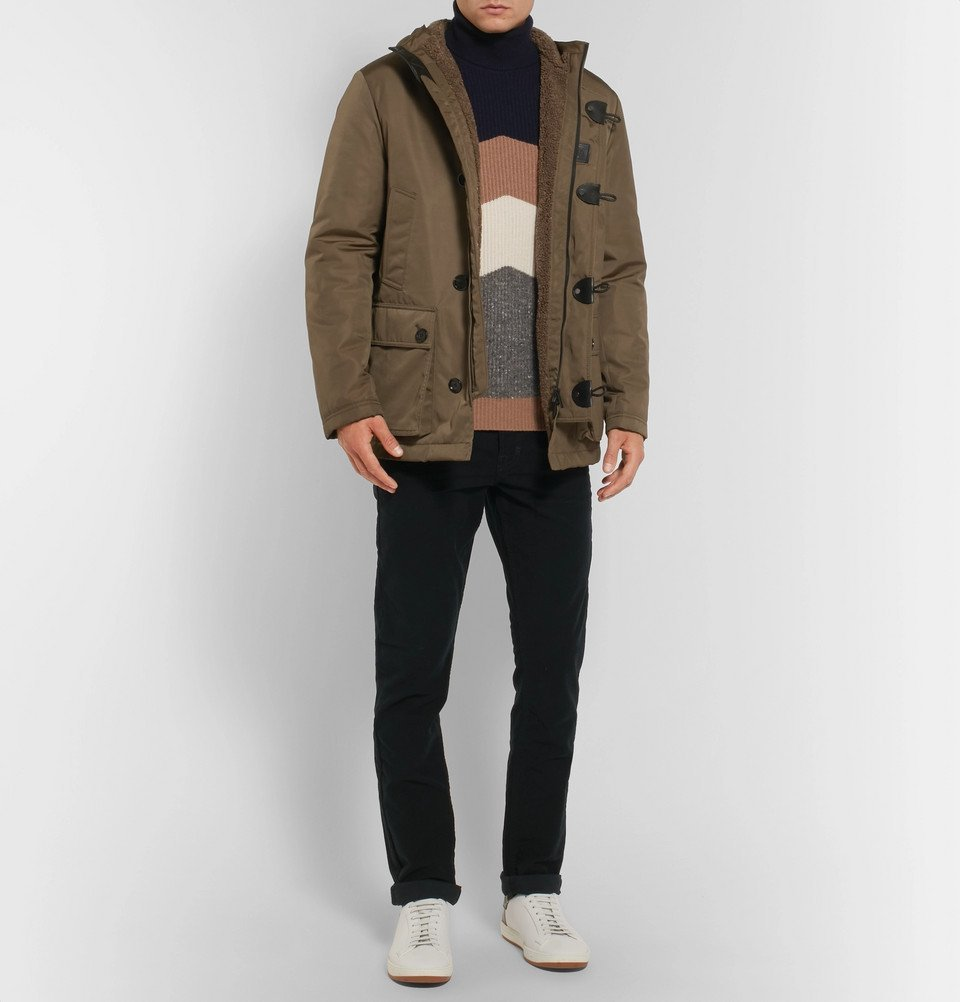 Tod's - Leather-Trimmed Faux Shearling-Lined Shell Hooded Jacket - Men - Brown