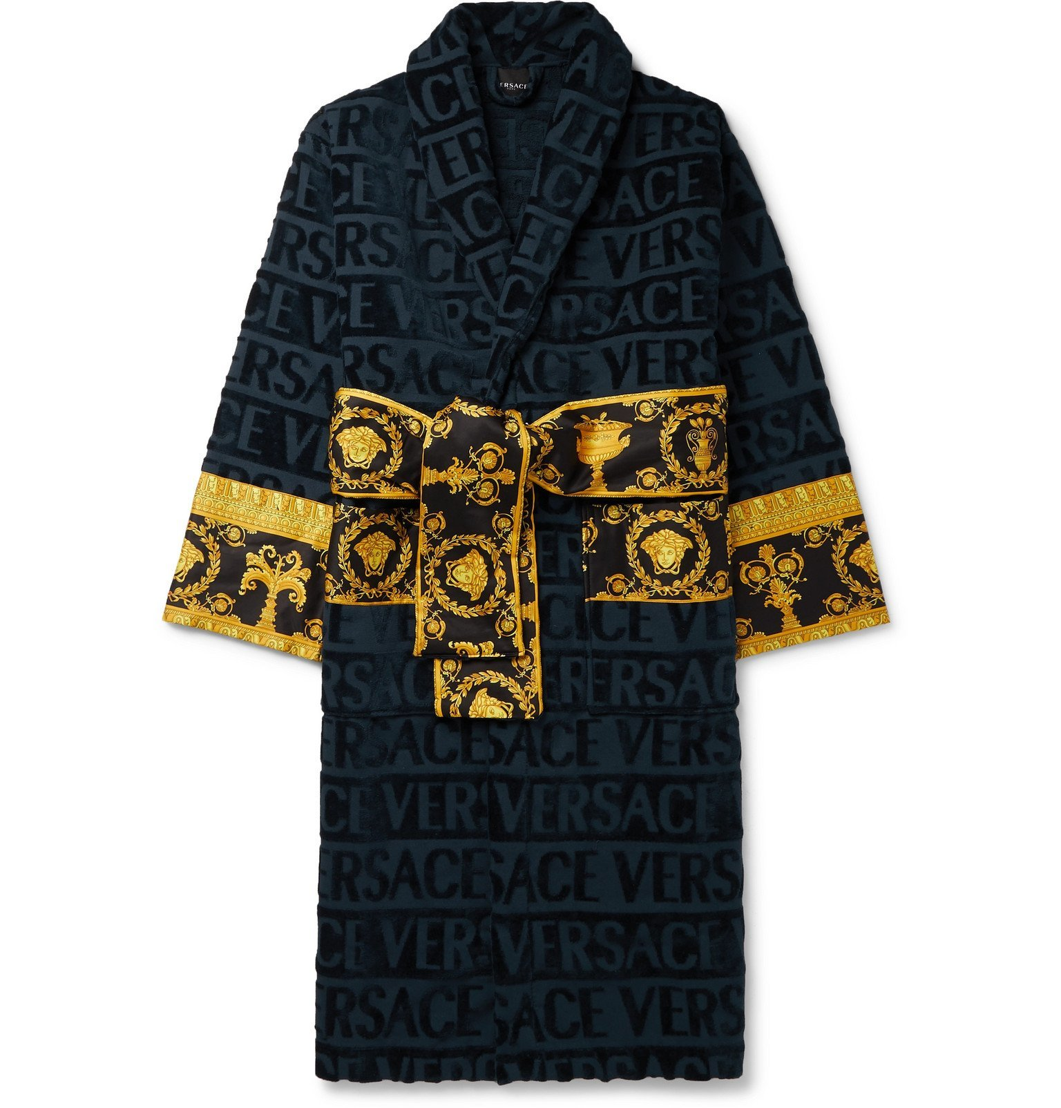 Versace - Printed Satin-Trimmed Logo-Jacquard Cotton-Terry Robe - Blue