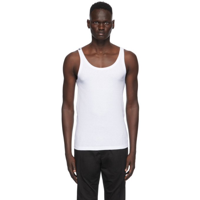 Photo: Dolce and Gabbana White Ribbed Tank Top