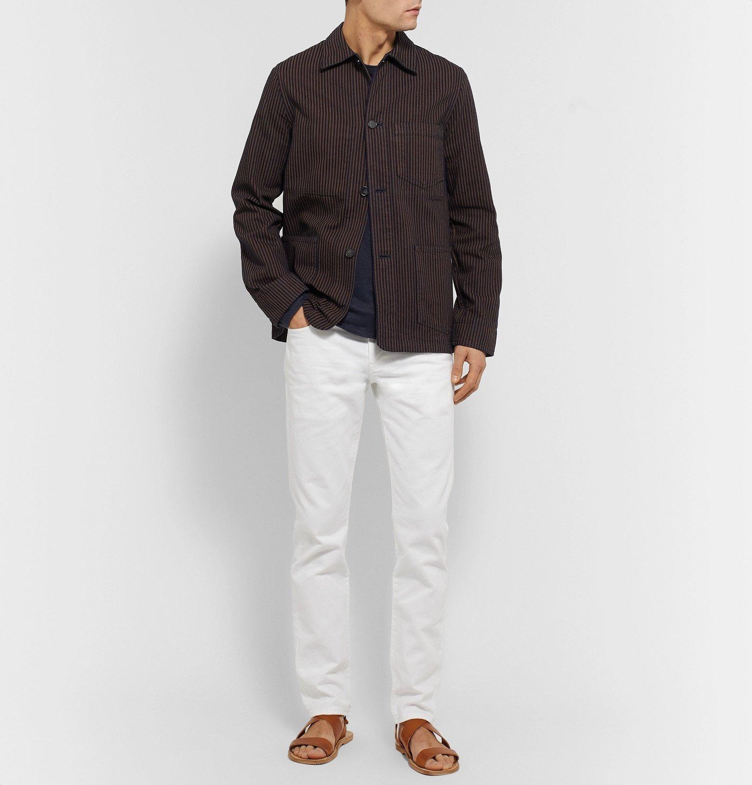 Officine Generale - Indigo-Dyed Striped Cotton Chore Jacket - Brown