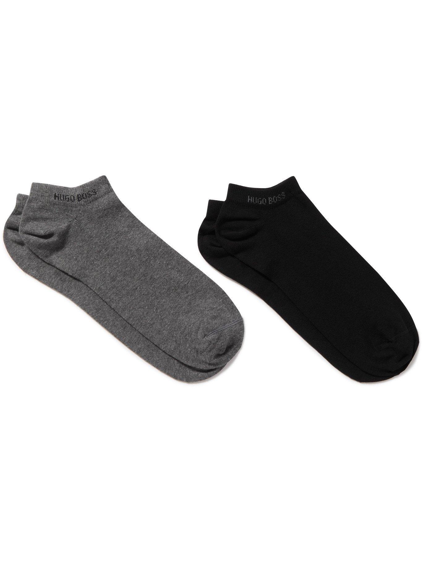 HUGO BOSS - Two-Pack Stretch Cotton-Blend No-Show Socks - Gray