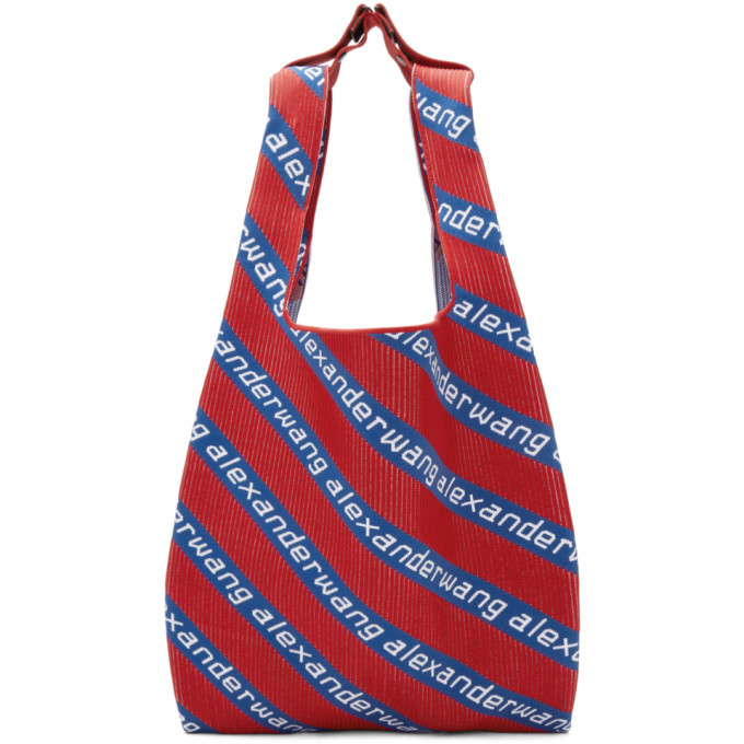 Photo: Alexander Wang Red and Blue Knit Jacquard Shopper Tote